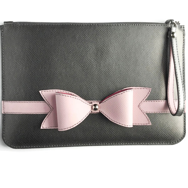 Town & Shore Handcrafted Anna 3D Leather Bow Pouch in Storm Grey and Petal Pink. Leather Clutch Bag . Limited-edition . (Front View)