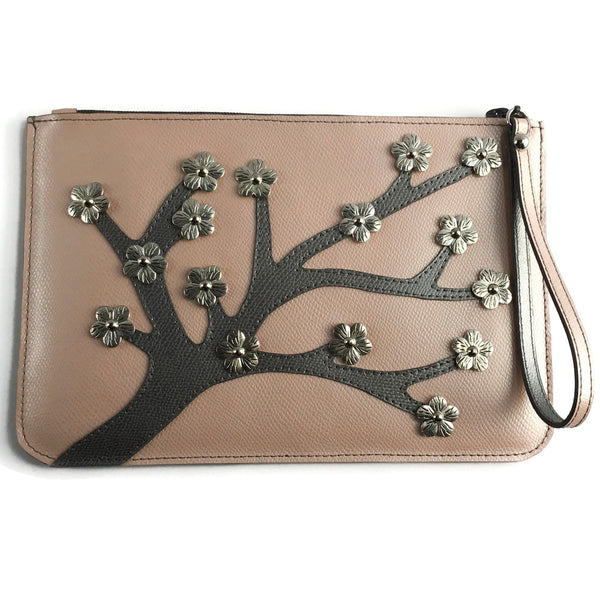 Anna 3D Leather Cherry Blossom Pouch in Coral Blush / Gunmetal Grey