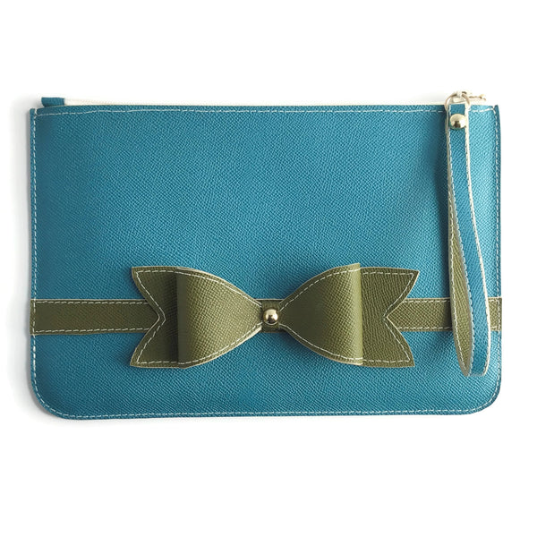 Town & Shore Handcrafted Anna 3D Leather Bow Pouch in Peacock teal and loden green. Leather Clutch Bag . Limited-edition. (Front View)