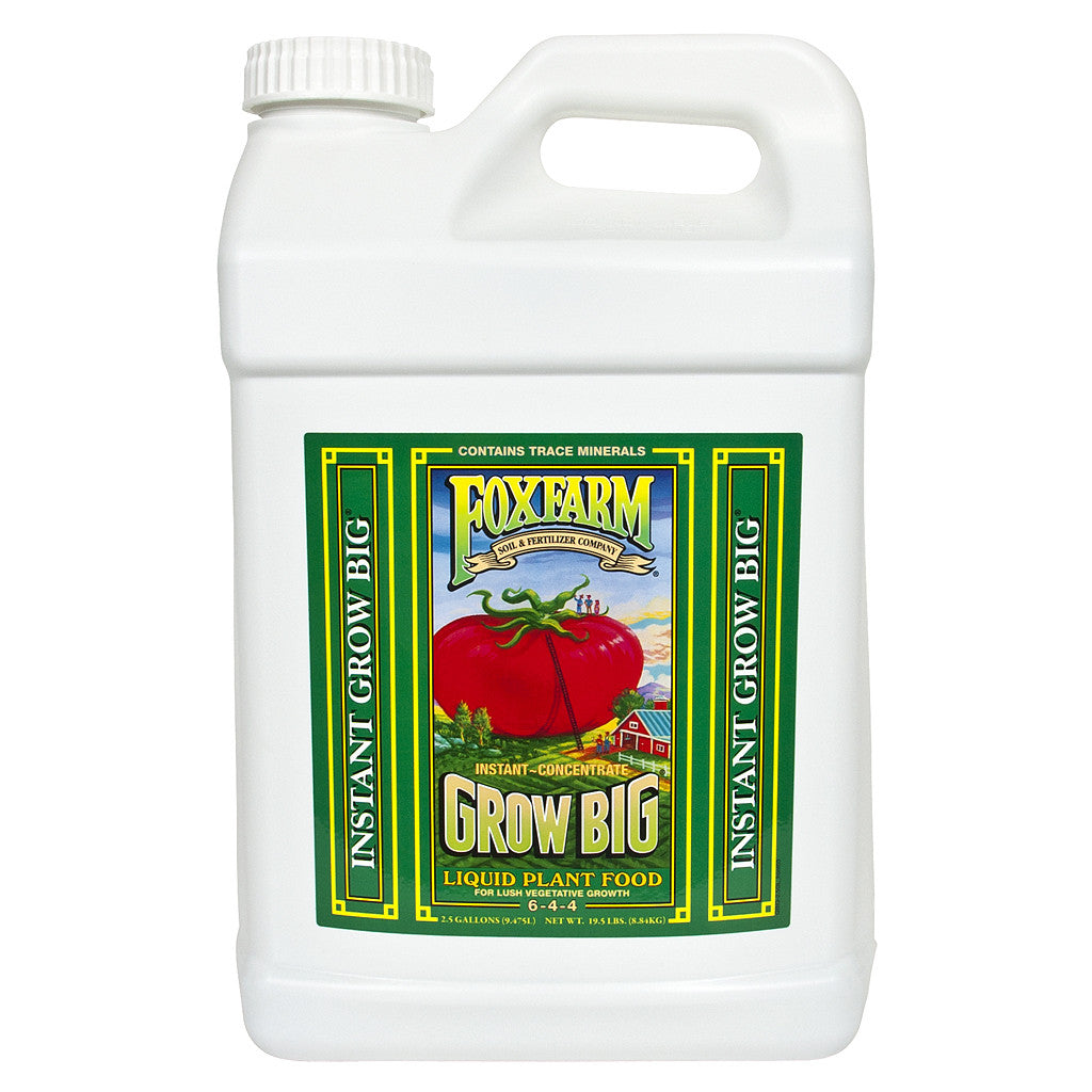 Grow Big Liquid Concentrate, 2.5 gal FoxFarm - Pacific Coast Hydroponics Los Angeles