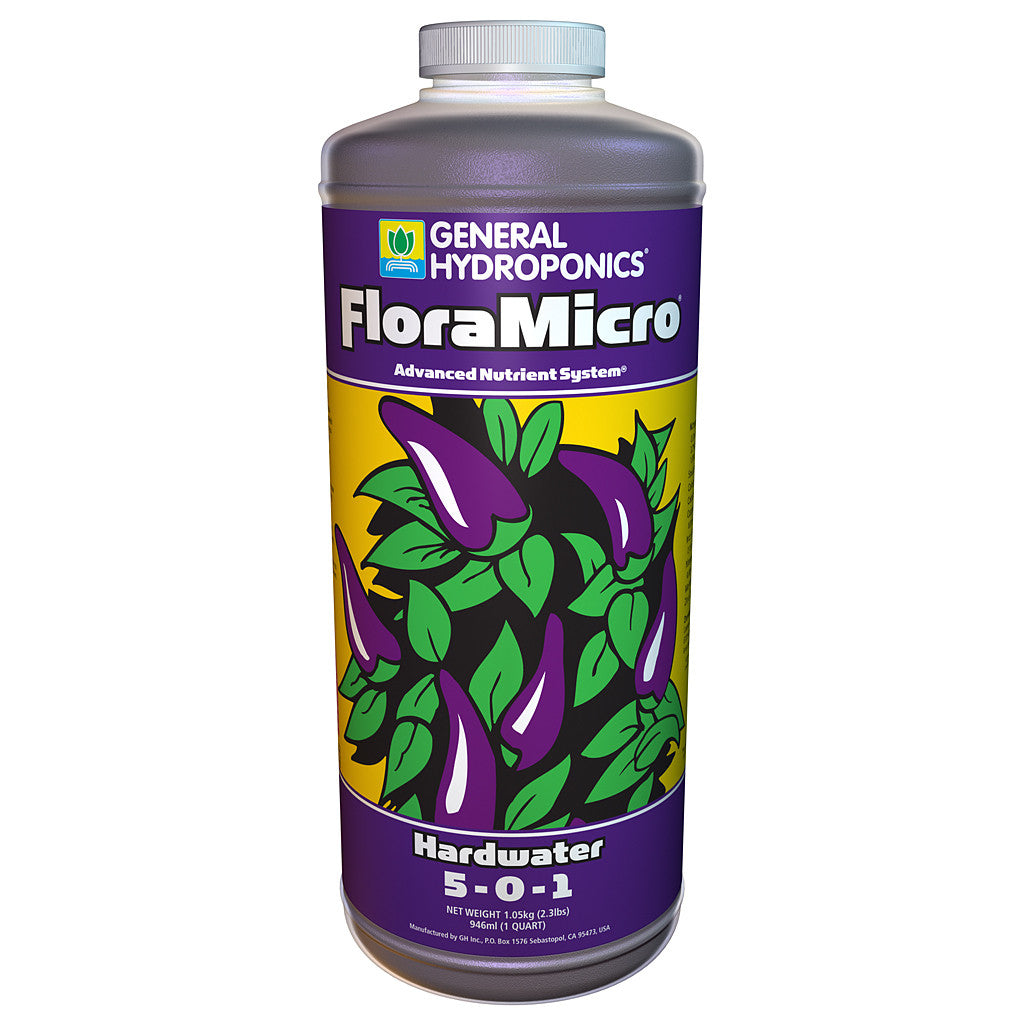 Hardwater FloraMicro, 1 Quart General Hydroponics - Pacific Coast Hydroponics Los Angeles
