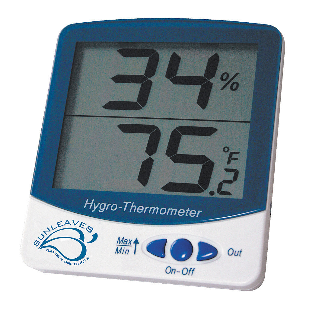 Digital Thermometer & Hygrometer Large Sunleaves - Pacific Coast Hydroponics Los Angeles