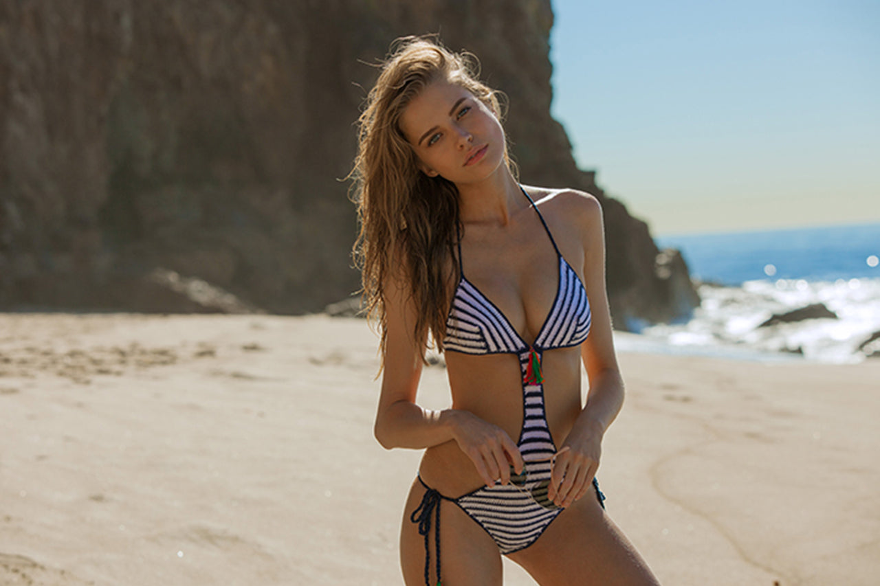 Anna Kosturova crochet sailor monokini worn by Tanya Mityushina