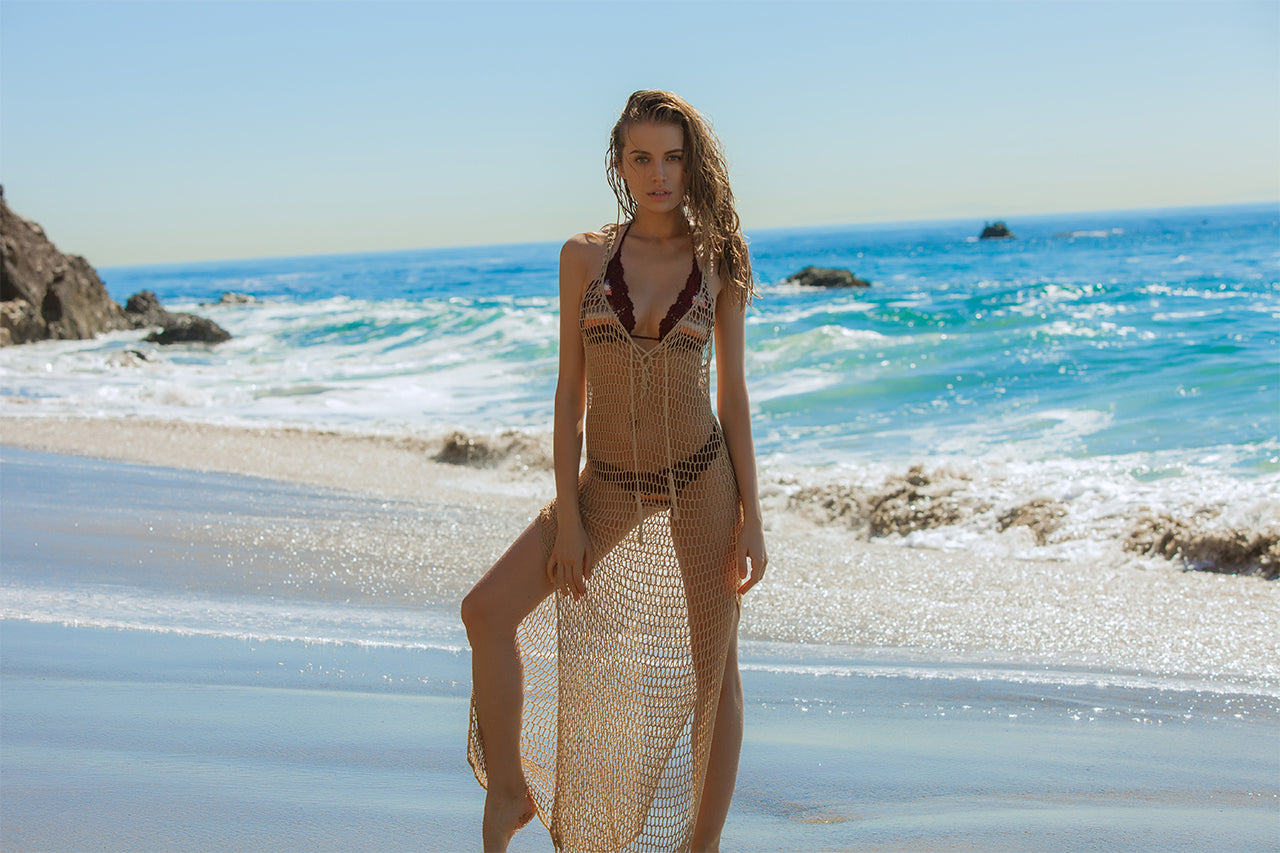 Anna Kosturova crochet marsala stripe bikini and mesh maxi dress worn by Tanya Mityushina