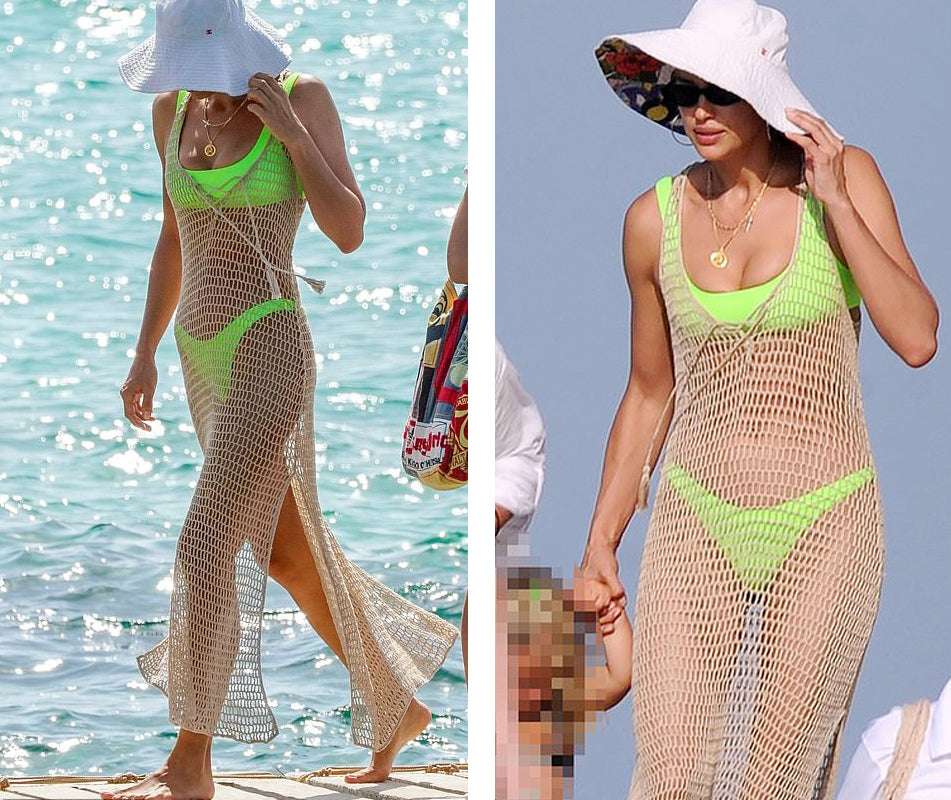 Irina Shayk in Anna Kosturova handmade crochet dress vacationing with her daughter in Ibiza