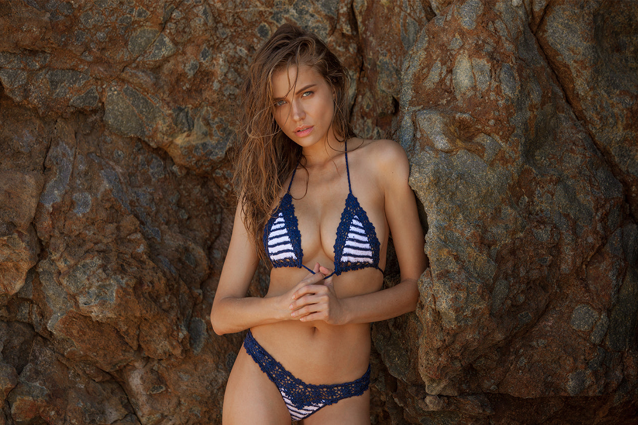 Anna Kosturova crochet sailor Bella bikini worn by Tanya Mityushina