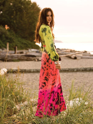 Silk Long Sleeve Wrap Dress - Astral Neon
