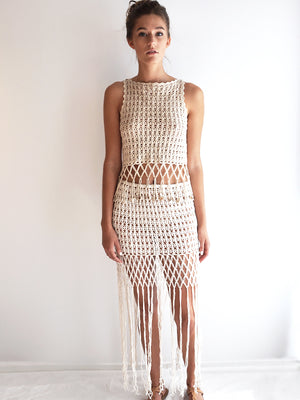 Anna Kosturova Handmade crochet Gypsy mesh top with cowrie shell fringe. Matching skirt sold separately as seen on Gwen Stefani!