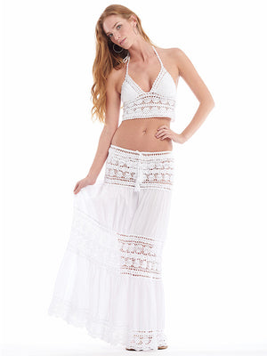 Anna Kosturova Handmade Filigree Lace Crochet Maxi Skirt Bohemian Bride Beach Wedding