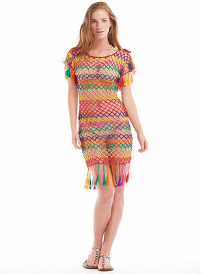 Aztec Stripe Mesh Dress