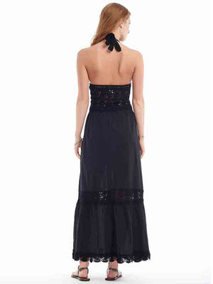 Filigree Halter Maxi Dress - Black