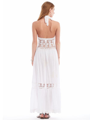 Anna Kosturova Handmade Filigree Lace Crochet Maxi Dress Bohemian Bride Beach Wedding