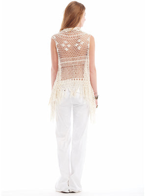 Womens Crochet Vests Fringe Waterfall Vest Anna Kosturova