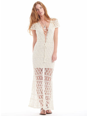 Anna Kosturova handmade crochet maxi dress in lacy stitch pattern. Button front bodice. Crochet lace bohemian wedding dress for beach destination. Cap Sleeve Fit and flare boho bride.