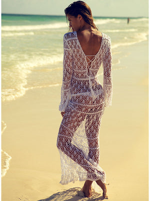 Handmade crochet lacy white maxi dress, perfect for a beach wedding.