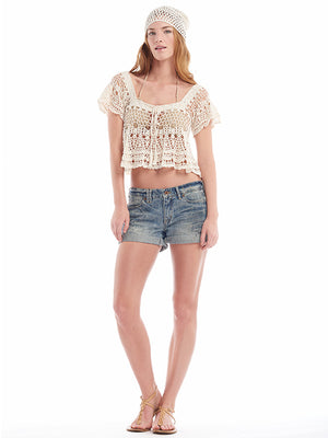 Anna Kosturova  Vintage lace handmade crochet crop top with scalloped hem. Angel wing sleeve.