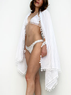 Beach Sheet/Sarong with Scrunchies - WHITE