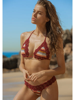Marsala Stripe Bella Bikini - Brazilian Bottom