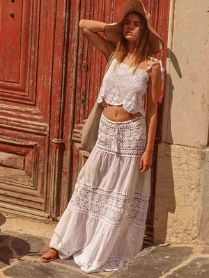 Filigree Maxi Skirt/Dress - White