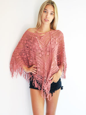 Tassel Lace-Up Poncho