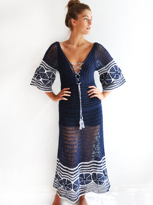 Indigo Sand Dollar Crochet Dress