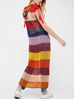 Marsala Stripe Hooded Maxi Vest