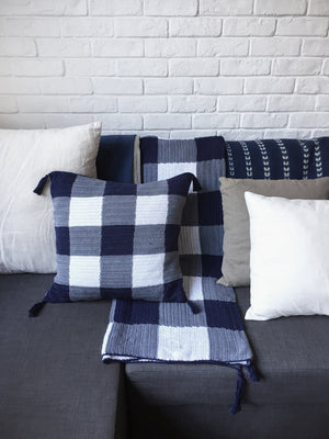 Gingham Crochet Throw with Tassels - PREORDER