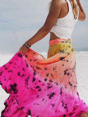 Silk Nomad Maxi Wrap Skirt - Astral Neon