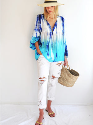 Silk Tie-Dye Billowy Sleeve Top - Indigo Ocean