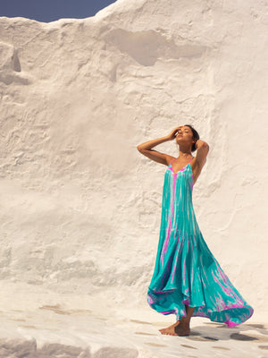 Silk T-Strap Maxi Dress - Aqua Flamingo