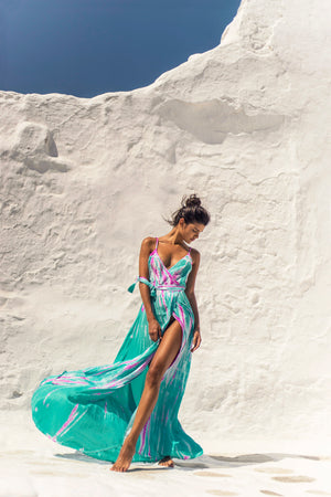 Silk Wrap Slip Maxi Dress - Aqua Flamingo