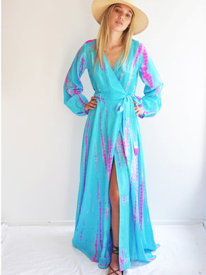 Silk Long Sleeve Wrap Dress - Aqua Flamingo