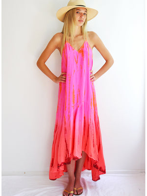 Silk T-Strap Maxi Dress - Neon Fire