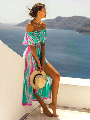 Silk Off-Shoulder Maxi Dress - Aqua Flamingo
