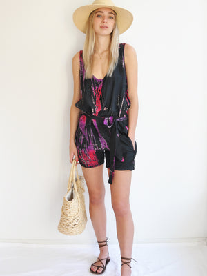 Anna Kosturova Silk tie dye romper. Comfortable and funky festival outfit.