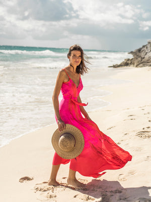 Silk Wrap Slip Maxi Dress - Neon Fire