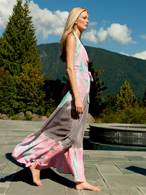 Silk Halter Maxi Wrap Dress