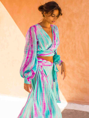 Nomad Silk Wrap Top - Astral Neon