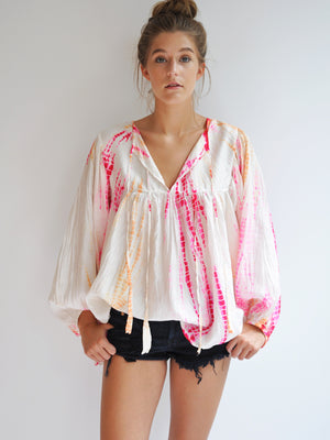 Silk Tie-Dye Billowy Sleeve Top - Sunrise