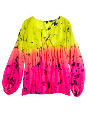 Silk Tie-Dye Billowy Sleeve Top - Astral Neon