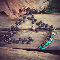 Turquoise & Tiger's Eye Lava Chain Necklace #2