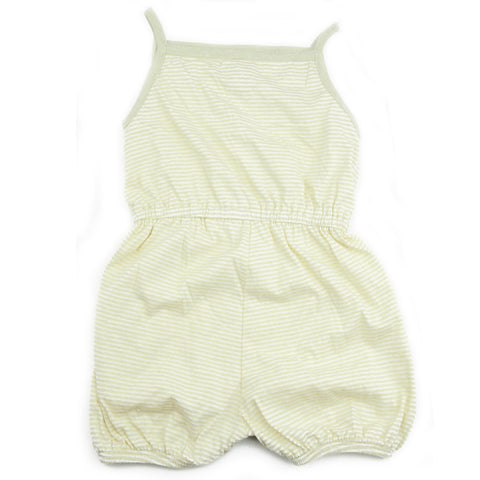 Baby Girls Summer Sleeveless Shortalls Olive Stripe