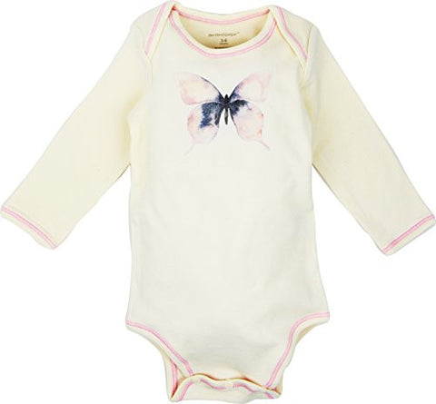 Long Sleeve Unisex Baby Onesie w/ Imprints Pink Butterfly