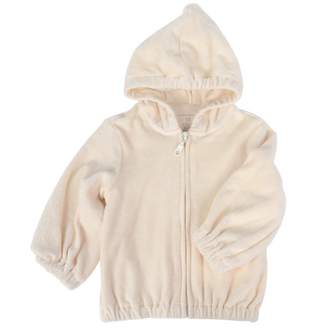 Kids Zip-up Velour Hoody Sweater Beige