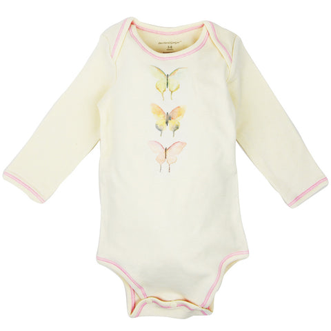 Long Sleeve Unisex Baby Onesie w/ Imprints 3 Butterfly