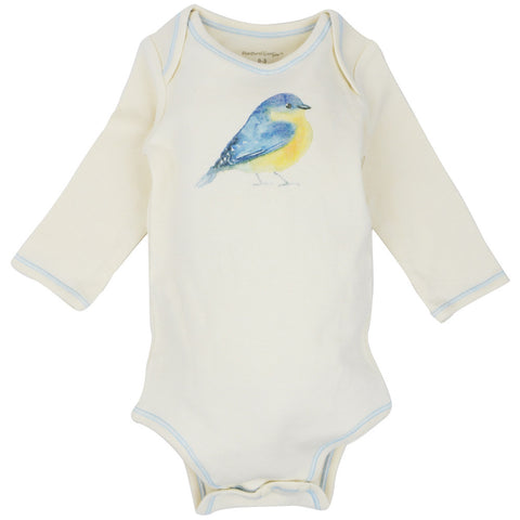Long Sleeve Unisex Baby Onesie w/ Imprints Blue Bird