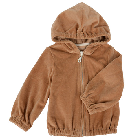 Kids Zip-up Velour Hoody Sweater Brown