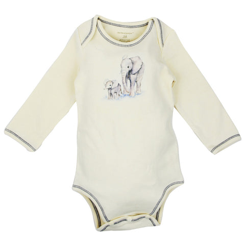 Long Sleeve Unisex Baby Onesie w/ Imprints 2 Elephants