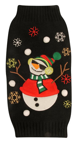 Worldwise Ugly Holiday Black Snowman Sweater