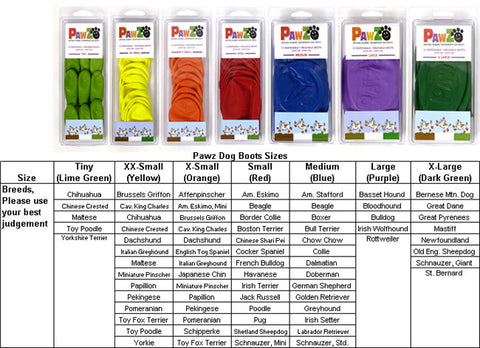 Pawz Dog Boots Assorted, Original Colors